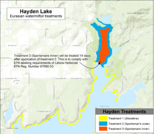 Hayden Lake Milfoil Treatment map
