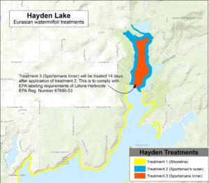 Hayden Lake Milfoil Treatment map