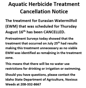 ISDA Notice: Aquatic Herbicide Treatment Cancelled