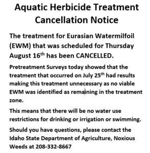 ISDA Notice: Aquatic Herbicide Treatment Cancelled