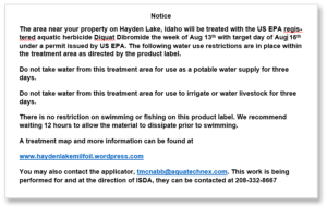 Hayden Lake Milfoil Treatment Notice