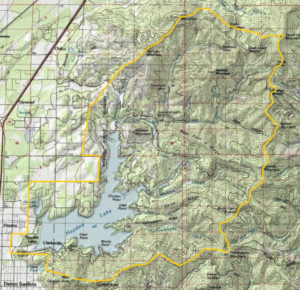 Hayden Lake Watershed has the lake as its lowpoint and the ridgeline as its boundary.
