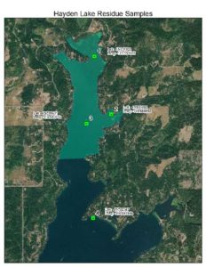 Map showing locatoins of 5/8/19 water sampling to test for residual Fluridone.