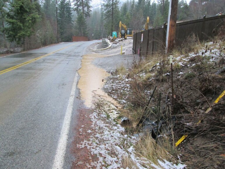 Runoff, from poorly protected construction site, carries sediment down lower Hayden Lake Drive