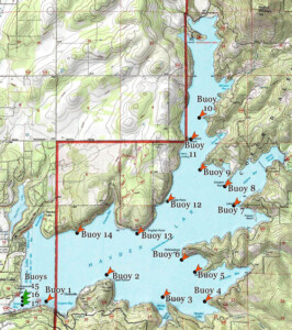 Hayden Lake Map showing placement of 14 permitted buoys, 3 pending permits.
